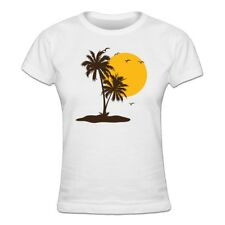 Camiseta de mujer Palms And Sun Flying Birds