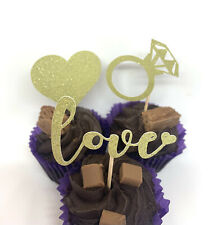 12 ENGAGEMENT WEDDING CUPCAKE TOPPERS GOLD SILVER LOVE RING HEART HEN PARTY