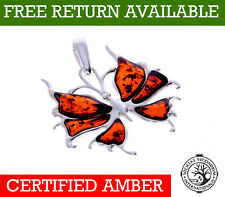 "CERTIFIED BALTIC AMBER 925 STERLING SILVER BUTTERFLY PENDANT 16"" 18"" 20"" CHAIN"