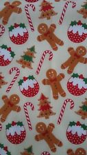 Christmas Polycotton fabric Gingerbread Man available in  FQ 1/2 Metre or Metre
