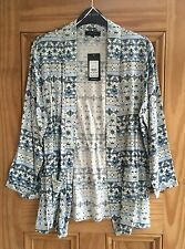 New Look New Blue White Edge 2 Edge Waterfall Cardigan Jacket Top Size 10