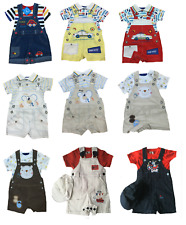 NEW BABY BOYS DUNGAREE 3 PIECE SET OUTFIT SIZE 0-3, 3-6 & 6-9 MONTHS