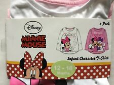 Baby Girls 2 Pack  Long Sleeve T Shirt with Minnie Mouse detail