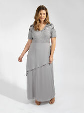 Lovedrobe LUXE Mujer Talla Grande Floral Lentejuelas Manga Corta Gris
