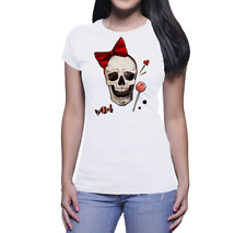 T - SHIRT    DONNA  SKULL CANDIES HANDMADE DRAW WATERCOLOR