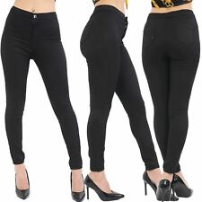 Womens Ladies Plain Skinny Slim Tight Fitted Full Ankle Length Denim Jeans Pants