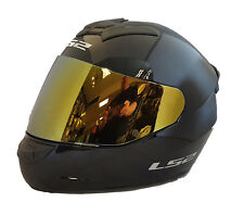 LS2 FF352 ROOKIE CASCO INTEGRAL Motocicleta ACCIDENTE Negro Con Oro Iridio