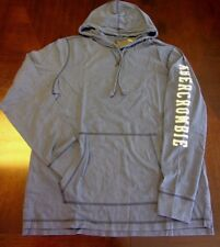 NWT Abercrombie & Fitch A&F Men's Graphic Logo Hoodie Tee Blue M / L