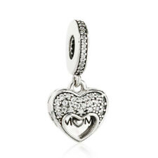 Genuine 925 Sterling Silver I Love My Mom Heart Locket Dangle Charm Pendant bead