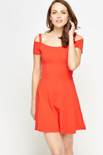 Womens Red Skater Dress Swing Cold Shoulder Summer Ladies Size 8 10 Brand New