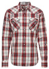 LEVIS Barstow Western Wildcat Mens Long Sleeve Cotton Check Shirt Crimson Red