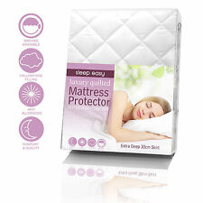 """EXTRA DEEP 30CM/ 12"""" Deep SOFT NEW QUILTED/ FITTED BED COVER/ MATTRESS PROTECTOR"""