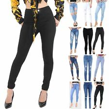 Womens Ladies Destroyed Distressed Ripped Skinny Full Ankle Length Denim Jeans