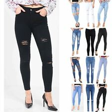 Ladies Skinny Fit Faded Studded Destroyed Womens Slim Pants Denim Trousers Jeans