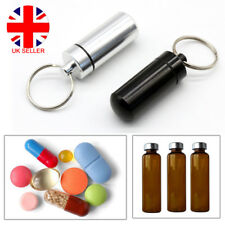 Keyring Tablet Medicine Container Pill Box Case Key Chain Capsule Bottle Holder