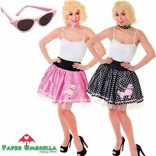 ANNI 50 ROCK N ROLL Costume barboncino gonna nero rosa pois addio al nubilato