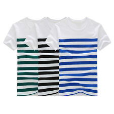 Summer fashion men's striped short-sleeved shirt casual striped T-shirt HOT