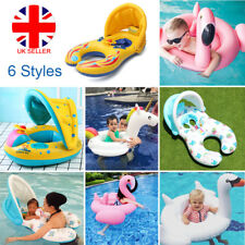 Inflatable Mother Baby Infant Swim Ring Float Swimming Seat Traner Sun Shield LU