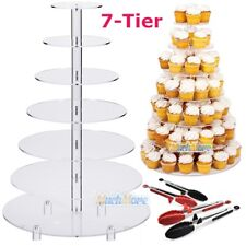 Large 7 Tier Acrylic Glass Round Wedding Cupcake Stand Tower  + 3Pcs Food Tongs