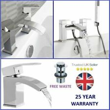 Modern Bathroom Tap Set Square Water Basin Mixer Bath Filler Shower Cloakroom