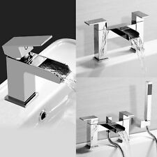 WATERFALL BATHROOM TAP SET - BASIN MONO, BATH FILLER, SHOWER MIXER & WASTE