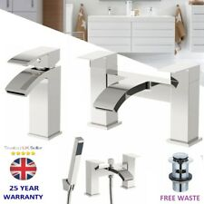 Chrome Waterfall Bathroom Tap Set Basin Mixer Bath Filler Shower Deck Taps Packs