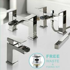 Waterfall Designer Bathroom Taps Basin Bath Mixer Filler Shower Tap Set Chrome