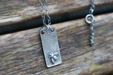 Bee Necklace, Raw Silver Necklace, Bar Necklace, Artisan Necklace, UK Handmade