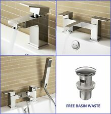 BATHROOM TAP SET BATH FILLER BATH SHOWER MIXER MONO BASIN MIXER & WASTE