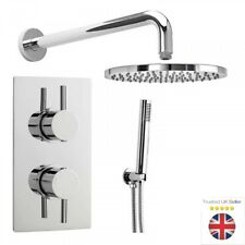 Square or Round Chrome Concealed Thermostatic Twin Head Mixer Shower Valve Sets