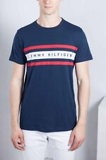TOMMY HILFIGER Uomo - T-Shirt in cotone blu con stampa logo