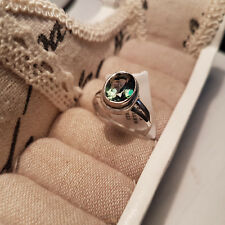 Mystic green quartz solitaire ring set in hand crafted sterling silver