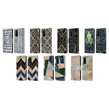HEAD CASE DESIGNS GEOMETRIC MARBLE LEATHER BOOK WALLET CASE FOR HUAWEI PHONES