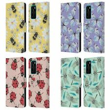 HEAD CASE DESIGNS WATERCOLOUR INSECTS LEATHER BOOK WALLET CASE FOR HUAWEI PHONES
