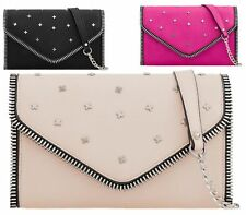 WOMENS FLAT ENVELOPE FAUX LEATHER PROM BRIDAL CHAIN STUDDED EVENING CLUTCH BAG