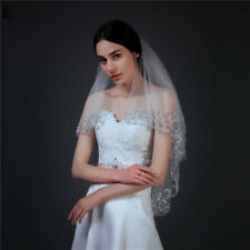 2T Bridal Wedding Veil Elbow Length Sequins Beaded Edge With Comb Brides Prom UK