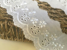 Premium Beautiful 2inch/5cm White Cotton Flat Broderie Anglaise Lace Trimming