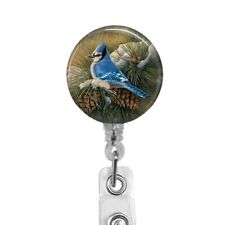 Blue Jay on Snow Covered Branch Badge Reel Retractable Badge Holder, 579