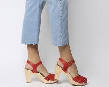 Womens Swedish Hasbeens Suzanne Hi Peep Toe Sandals Red Sandals