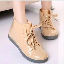 Women Rain Boots Lace-Up Shoes Solid Flats Casual Round Toe Shoes For Women New