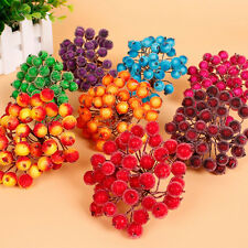 40pcs Mini Artificial Christmas Foam Frosted Fruit Holly Berry Flower Home Decor