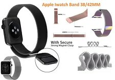 Black Magnetic Milanese Loop Stainless Steel Watch Band for Apple iWatch 1 2 3