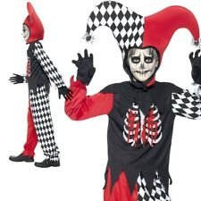 Child Blood Curling Jester Costume Boys Halloween Fancy Dress Outfit New S-L