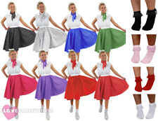 POLKA DOT SKIRT SCARF ROCK N ROLL 1950'S FANCY DRESS COSTUME LONG SHORT