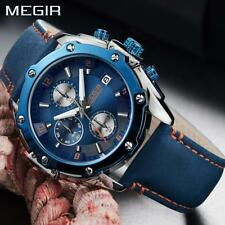 2018 Megir Fashion Creative Men Watch Top Brand Luxury Blue Leather Band Quartz