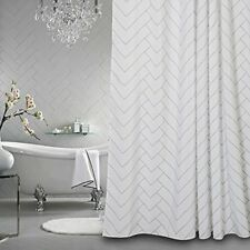 Shower Curtain For Bathroom White Striped Mold Resistant Bath Cover Waterproof