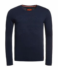 New Mens Superdry Factory Second Vintage Logo Embossed Long Sleeve T-shirt Navy