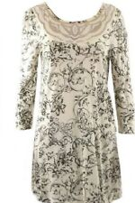 BN LADIES NEXT CREAM BLACK PRINT VISCOSE TUNIC TOP BLOUSE SIZE 10 ONLY £14.99
