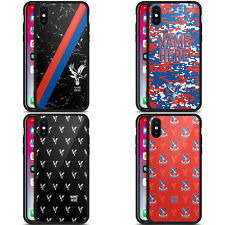 CUSTOMISED CRYSTAL PALACE FC 2017/18 BLACK HYBRID GLASS CASE FOR iPHONE PHONES