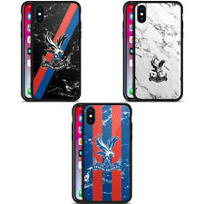 CRYSTAL PALACE FC 2017/18 MARBLE BLACK HYBRID GLASS BACK CASE FOR iPHONE PHONES